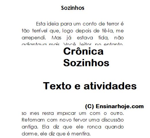 Crônica: Sozinhos - texto e atividades