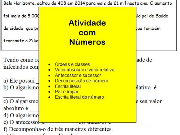 Atividade com ordens, classes, valor relativo e absoluto e decomposição de números