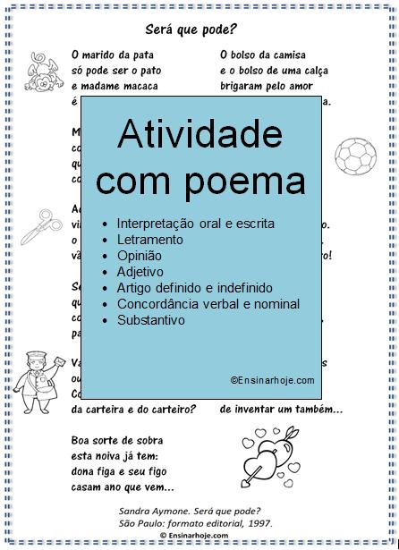 Atividade - Gênero Textual - Poema: Será que pode?