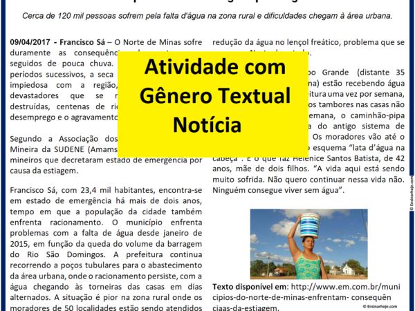 Atividade com Gênero Textual - Notícia - Seca no norte de Minas