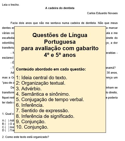Questões de Língua Portuguesa para avaliação com gabarito 4º e 5º ano