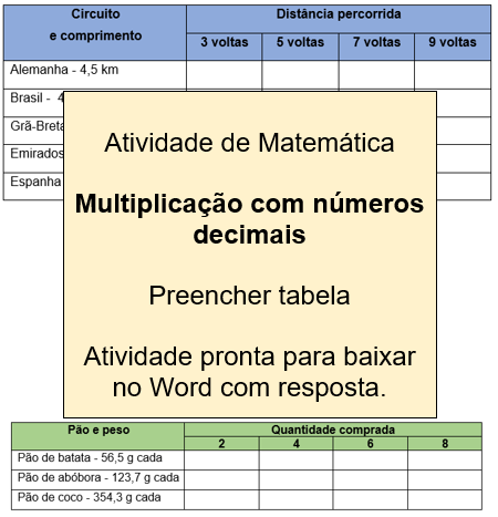 Atividade de multiplicação com números decimais para 4º e 5º ano com respostas.