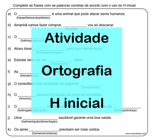 Ortografia H inicial - Atividades