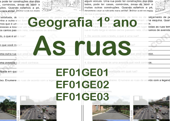 As ruas: espaços públicos - Geografia 1º ano - Texto e atividades