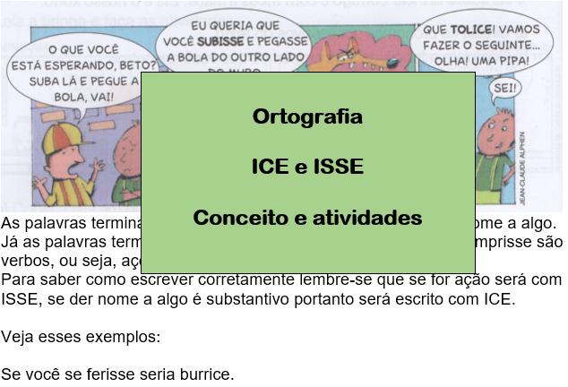 Ortografia ICE e ISSE - Conceito e atividades