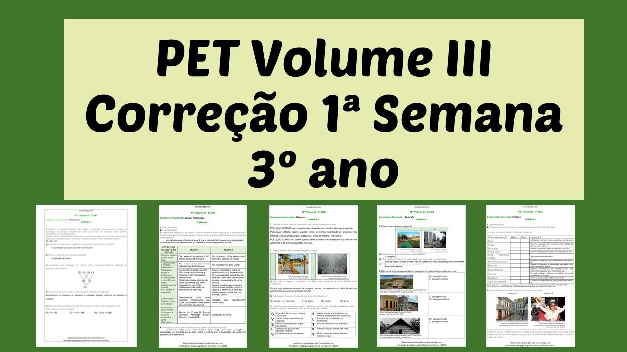 Correção PET III - 3º ano - 1ª Semana