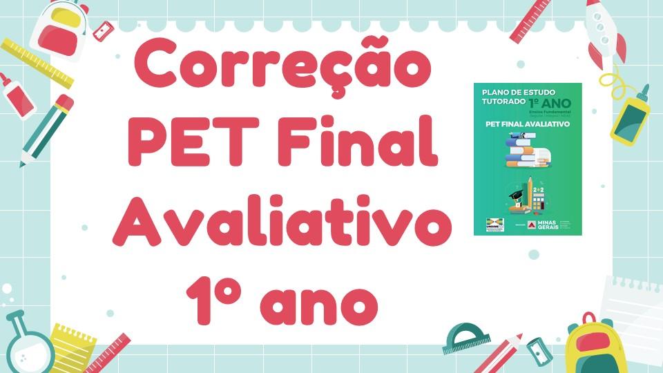 Correção PET Final Avaliativo - 1º ano
