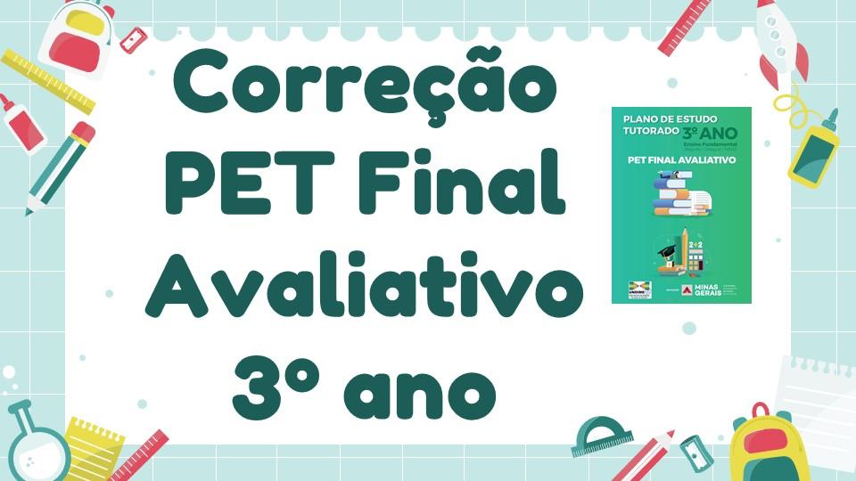 Correção PET Final Avaliativo - 3º ano